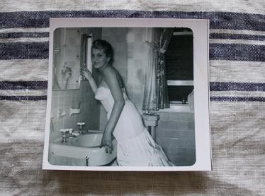 Barbara getting ready for prom in the original main floor bathroom