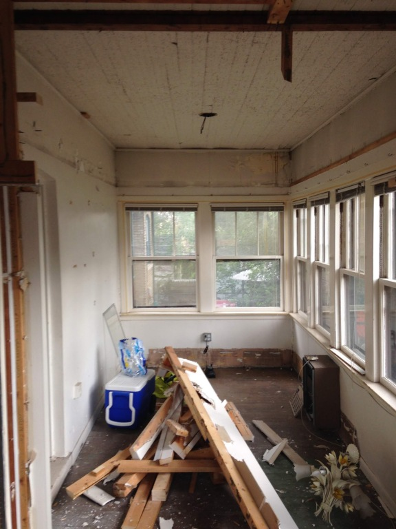 Demo of the old porch. Photo courtesy of Mike and Katrina Morrissey.
