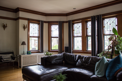 The original windows in the living room