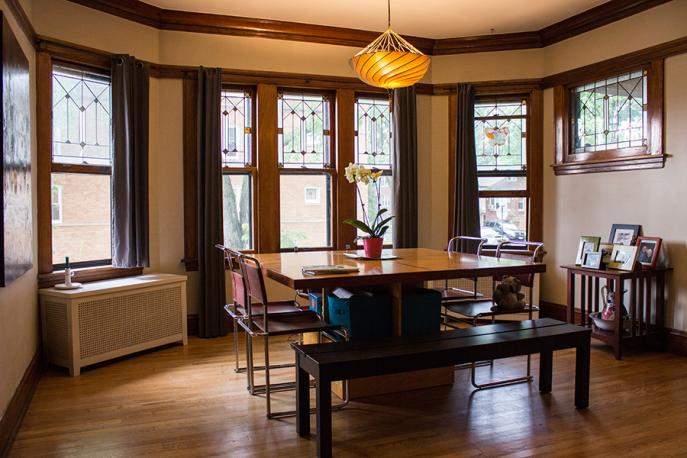 Original windows in the dining room